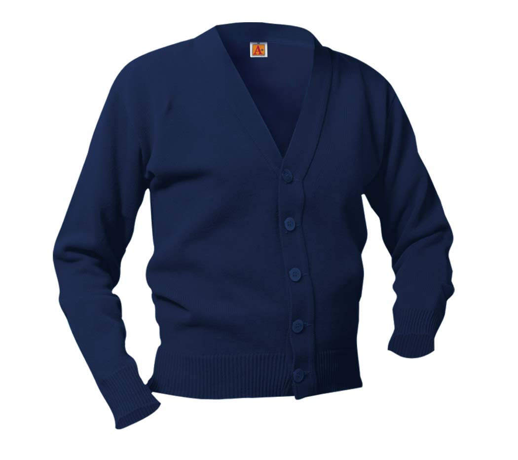 St Charles Navy Cardigan with logo (Mass)